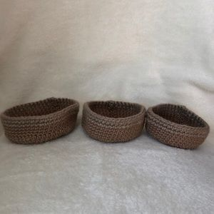 NWT set of 3 hand crocheted basket